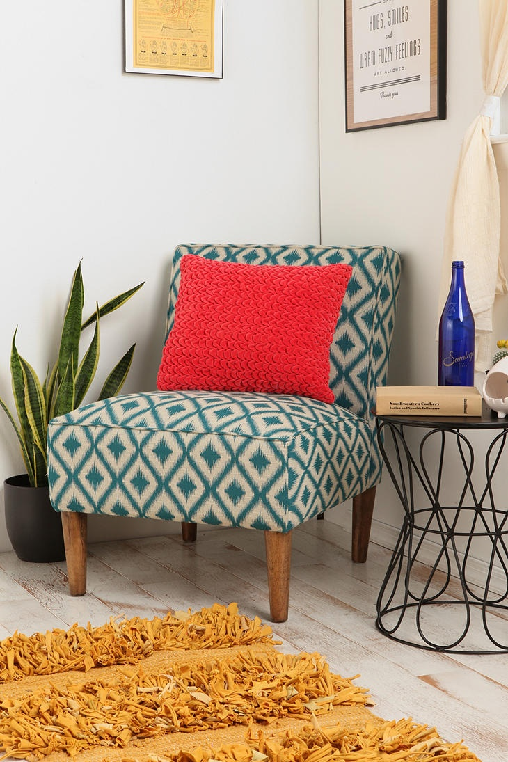 Colourful accent chairs - I Like The Smaller Ikat Print On This Slipper Chair