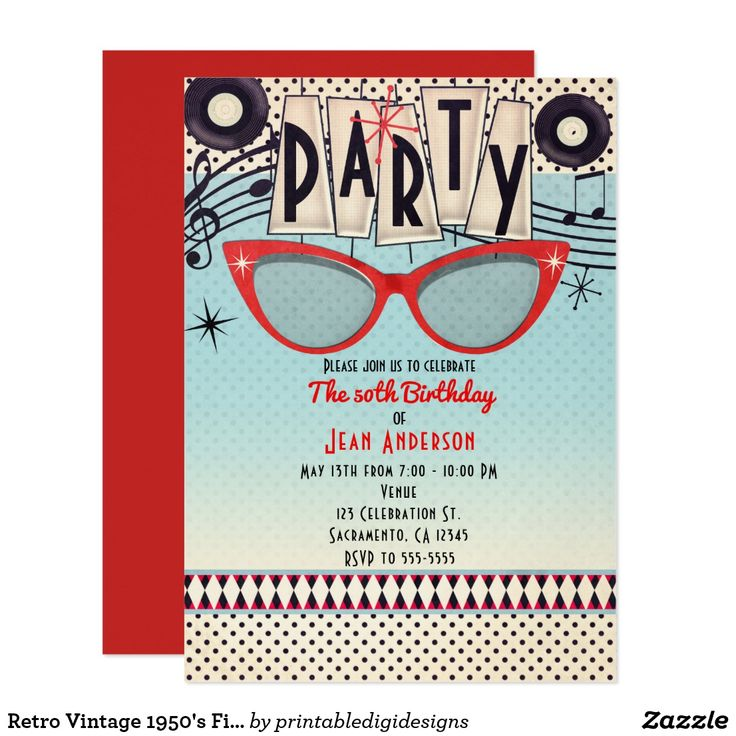 24 best 50\'s Theme Party images on Pinterest | Birthday invitations ...