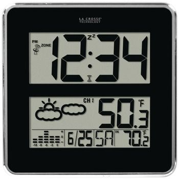La Crosse Technology Large-digit Atomic Clock With Indoor And Outdoor Temperature & Forecast