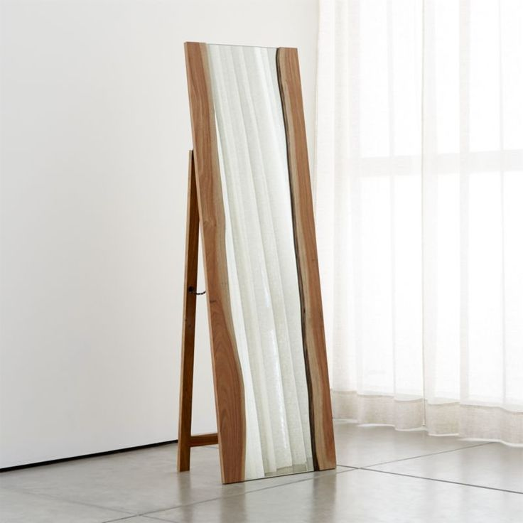 Shop Acacia Floor Mirror.  Lengths of live-edge acacia planks bracket this dramatic freestanding mirror withMirror sits on a removable freestanding base.
