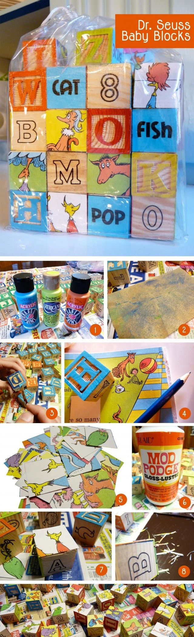DIY Dr. Seuss Blocks (this is from a cute baby shower held at a school library for a teacher).