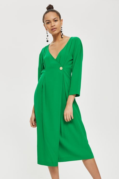 Crepe Popper Midi Wrap Dress