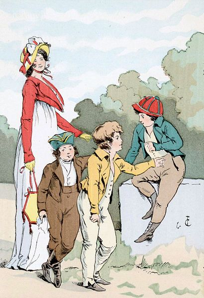 1800        'Little Patriots'.                                                       By François Courboin (1856–1926).   Lady in Empire Waisted Dress and Spencer. Three boys in 'Skeleton' suits.   Published in: Octave Uzanne. 'Fashion in Paris, the various phases of feminine taste and aesthetics from 1797 to 1897'. London: William Heinemann.  Current location: Brown University Library.               wikimediafoundation.org   (PD-70)                  suzilove.com