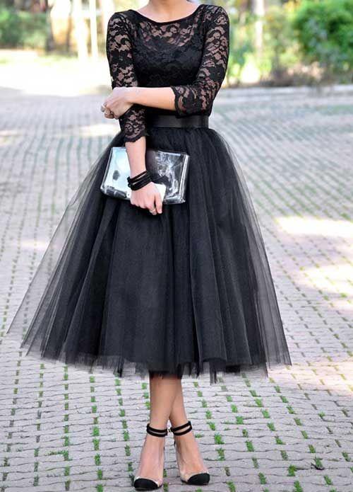 Siyah Tüllü Dantelli Elbise
