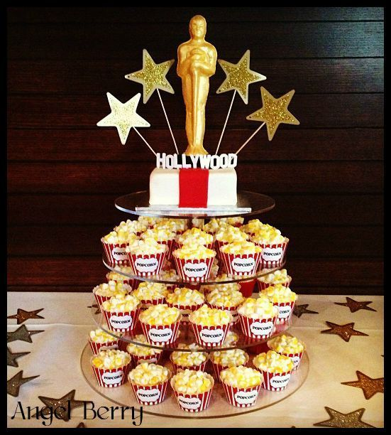 Hollywood themed cake  cupcake tower for Cales 30th.