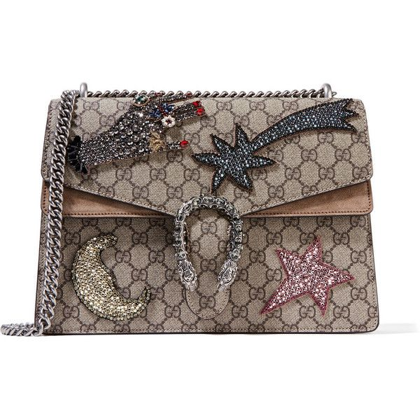 Gucci Gucci - Dionysus Large Embellished Coated-canvas And Suede... ($2,940) ❤ liked on Polyvore featuring bags, handbags, shoulder bags, beaded purse, brown shoulder bag, chain shoulder bag, shoulder handbags and suede handbags