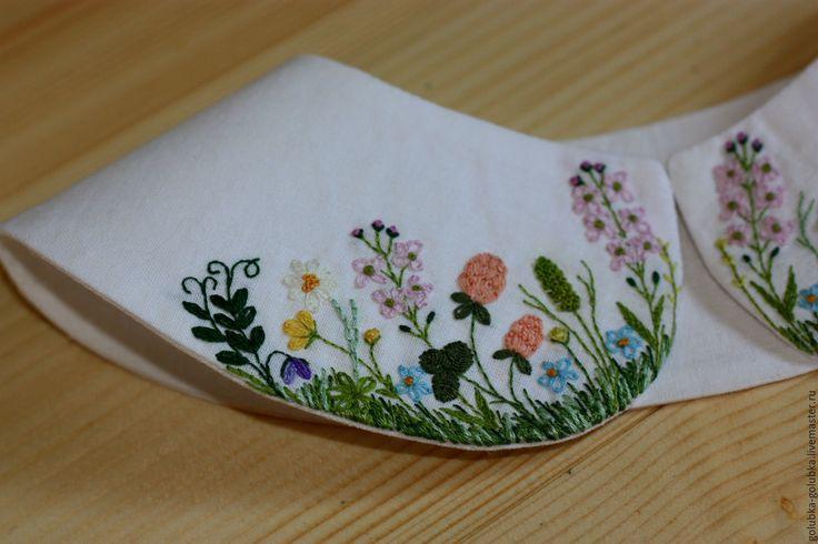 """Купить Вышитый воротничок """"Разнотравье"""" - белый, воротничок, ручная вышивка, цветочный, травы, полевые цветы"""