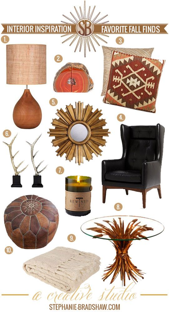 Favorite Fall Interior Finds || Wood Teardrop Lamp, Agate Bookends, Decorative Pillows, Wing Back Leather Chair, Sunburst Mirror, Faux Decorative Antlers, Rewind Wine Candle, Vintage Italian Wheat Table, Zara Cable Knit Blanket, Leather Moroccan Poof