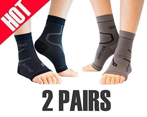 Thirty48 Plantar Fasciitis Socks 20-30 mmHg Foot Compression Sleeves for Ankle/Heel Support Increase Blood Circulation Relieve Arch Pain Reduce Foot Swelling (Black & Grey (2 Pairs) Large)