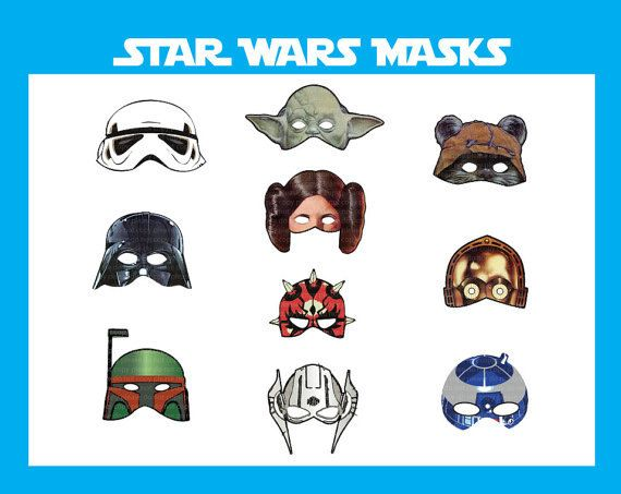 instant dl star wars masks birthday party printable - Masque Star Wars Fabriquer