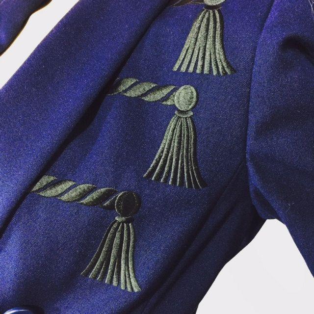 Vintage Jacket Navy Blue Escada Margaretha Ley Jacket Size 38 80's Designer Fashion Military Epaulet Tassel Accent by OffbeatAvenue on Etsy