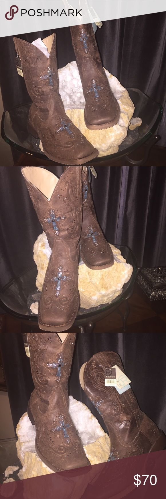 Roper Boots Crystal Cross Bling / Brown boots with silver studs, turquoise and white rhinestones create elegant western highlights.     Size 8 1/2- New Roper Shoes