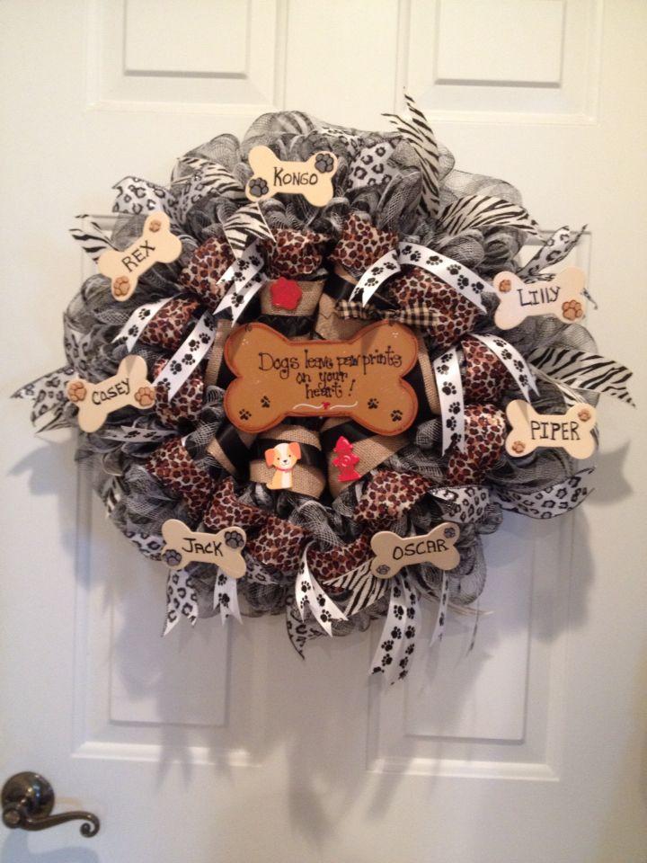 Deco mesh dog wreath