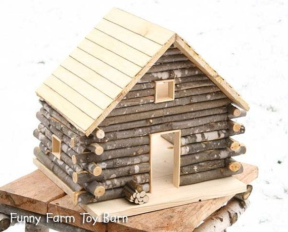 Log Cabin Dollhouse Natural Waldorf Custom by FunnyFarmToyBarn