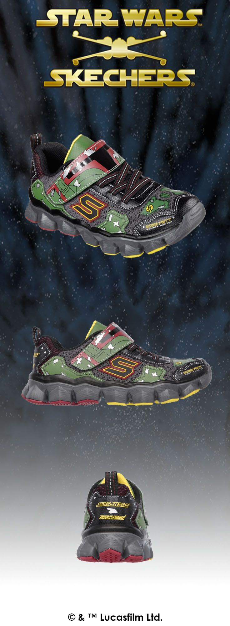 Show your true colors like the galaxy's top bounty hunter as Boba Fett™ in the Star Wars™ Skechers collection. | http://spr.ly/6006BuHbK