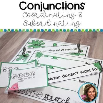 Conjunctions: coordinating conjunctions, subordinate conjunctions This is a fun speech therapy and special education packet that targets coordinating & subordinate conjunctions! Working on conjunctions? It doesn't have to be boring! Your upper elementary students will have fun stretching, smashing, and tossing slime while they practice connecting sentences with conjunctions, forming sentences with conjunctions, and answering Wh-questions using conjunctions!