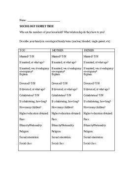 This worksheet can be used for Sociology, Family and Consumer Science, and/or Social Studies electives. In this activity, students will take a close look at their family's background (demographic, economic, etc). They will complete the information charts for