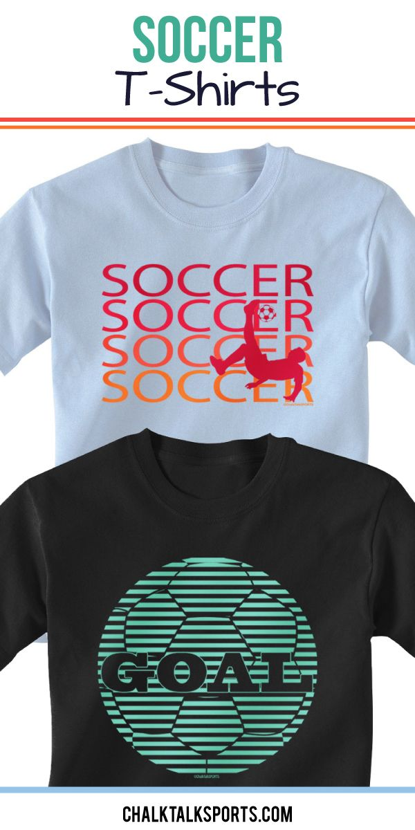 Our soccer tees are perfect to practice in or just to wear to show off your love for the game! We offer so many unique designs and color options, and you can even personalize our tees on the back with player number and player name. These t-shirts make great gifts for any soccer player or soccer fan! Only from ChalkTalkSPORTS.com!