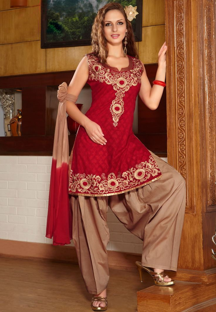 Red Cotton Jacquard Readymade Salwar Kameez Online Shopping: KGF4303