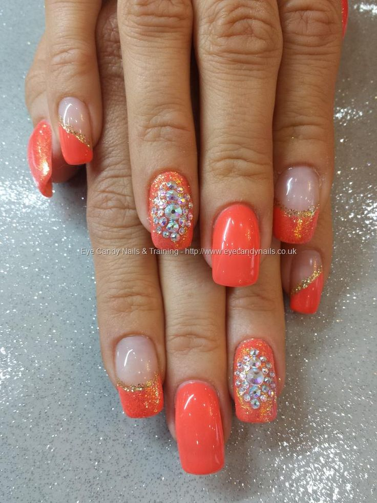 126 best gel nails images on pinterest nail designs gel nails eye candy nails training orange gel polish with glitter and swarovski crystal nail art by elaine moore on 27 september 2013 at prinsesfo Image collections