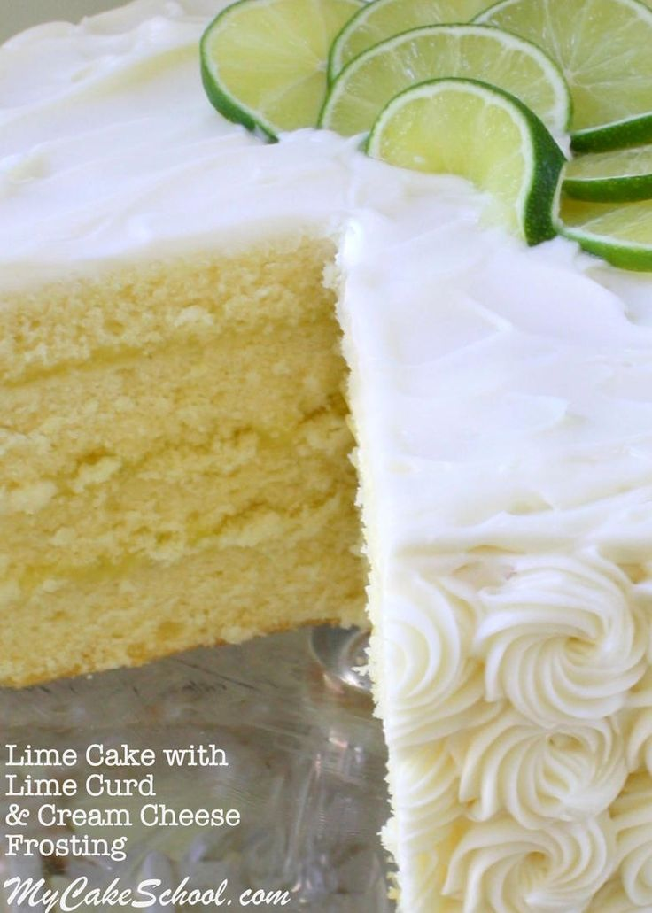 Delicious Homemade Lime Cake Recipe with Lime Curd & Cream Cheese Frosting! YUM! Recipe by MyCakeSchool.com. Online Cake Tutorials & Recipes!