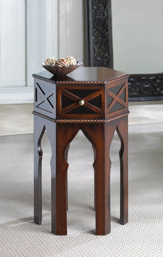 Moroccan Accent Bedside Or End Table Round Top Dark Brown
