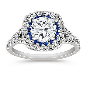 "Unmounted 5/8 ct. t.w. Round Diamond and Sapphire Engagement Ring - This is my favorite ""silver""/white gold one. Hands down."