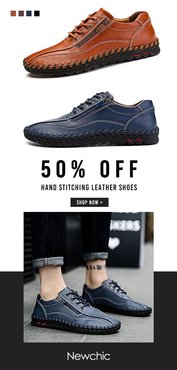 official photos 826cd 28797 ... 50%OFF Large Size Men Hand Stitching Side Zipper Casual Leather Shoes  ...