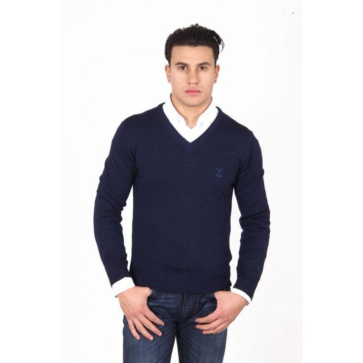 Versace 19.69 Abbigliamento Sportivo Milano mens V neck sweater 9801 SCOLLO V BLU NAVY