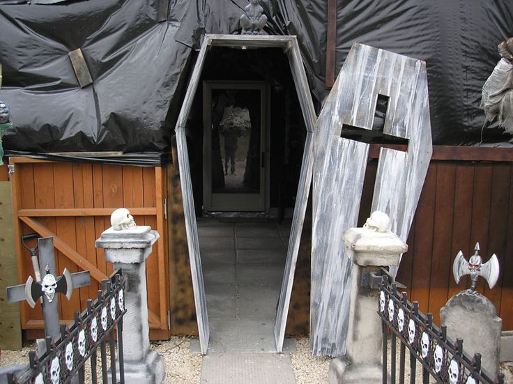 We built a walk thru coffin door entrance to our first haunt structure. I ran out of time (as we home haunters always do!) before I figured out how to attach the door in such a way that we could open it on hinges. But even still, people we visited were impressed with this Halloween prop....A piano hinge would work well here....eb