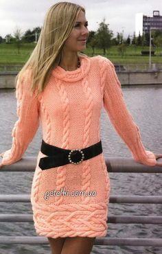 Теплое платье абрикосового цвета спицами. Описание, схемы