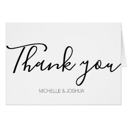 White and Black Calligraphy Thank You Card - script gifts template