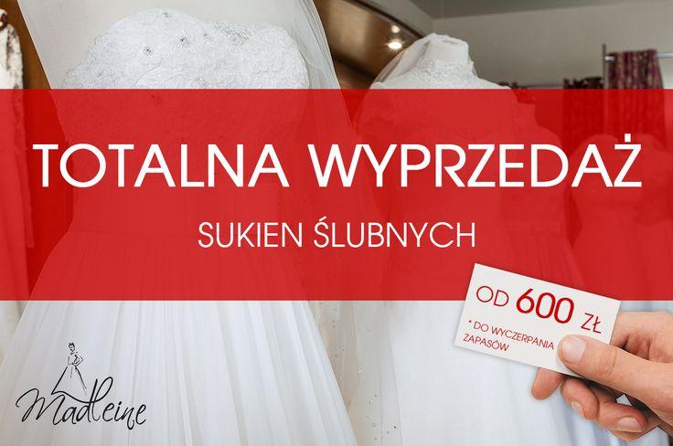 Sukienka ślubna w Poznaniu już od 600 złotych :) Zapraszamy na wyprzedaż sukien ślubnych w MADLEINE. Przygotowujemy nasz salon na nową kolekcję 2017 i oferujemy bardzo atrakcyjne ceny na sukienki z ubiegłych lat...