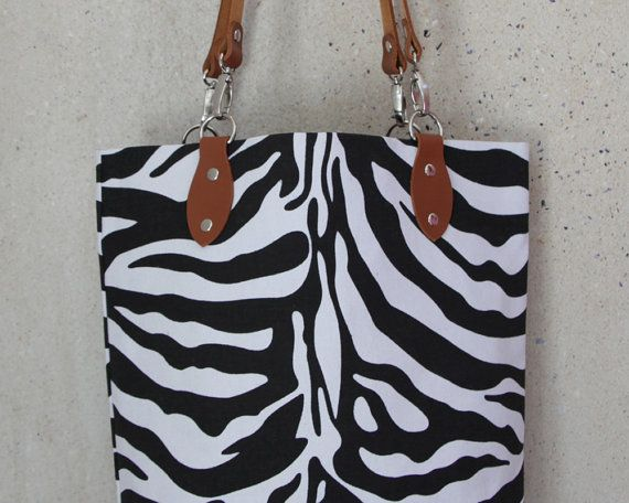 Animal Print Tote Bag  Zebra Print Tote Bag  by africaohafrica