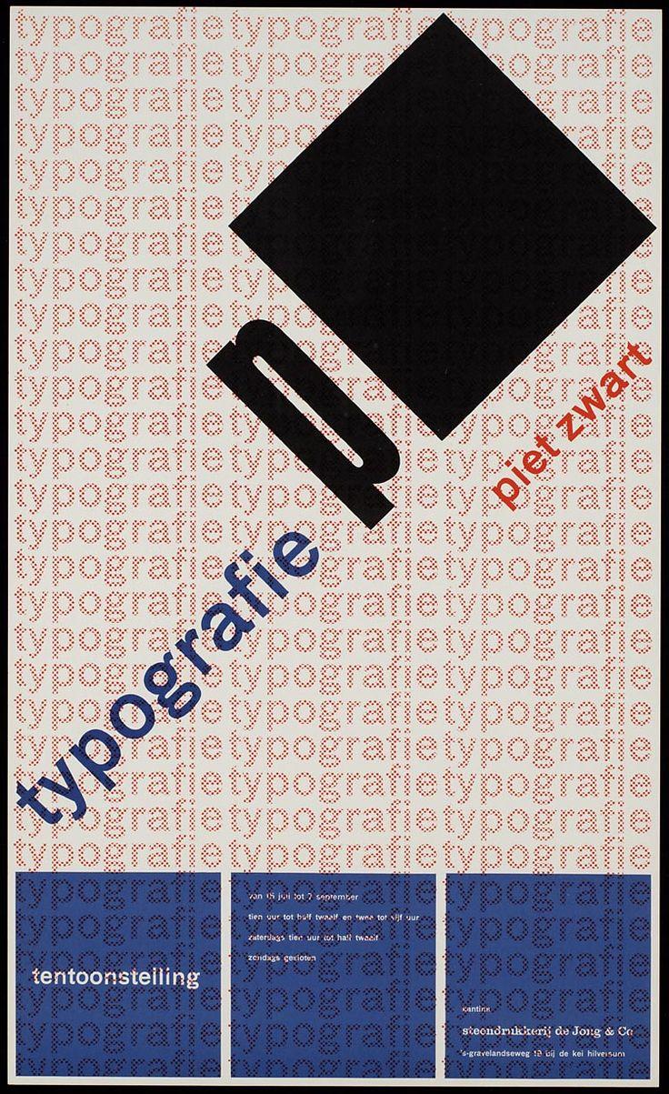 Pieter Brattinga, kantine steendrukkerij de Jong & Co Hilversum van 15 juli tot 7 september typografie van piet zwart, 1960