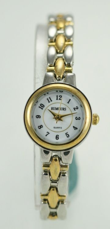 Rumours Watch Womens White Stainless Silver Gold Easy Read Water Resist Quartz