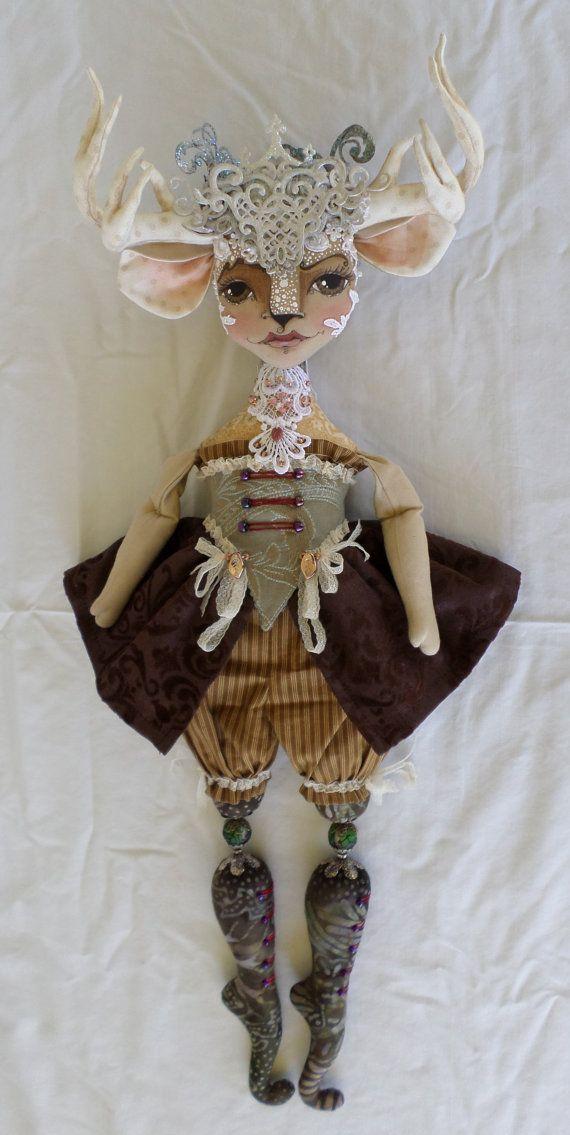 Deer Miss Millicent  Deer Doll PDF Sewing by paulasdollhouse