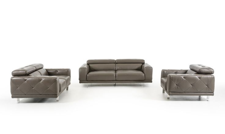 Divani Casa Albury Modern Dark Grey Leather Sofa Set VGZIWA-S116-GRY