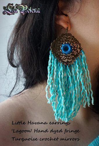 https://flic.kr/p/NknJmH   Little Havana earrings   Hand dyed vintage fringed earrings, filigree brass dangle pair with beaded crochet mirrors.