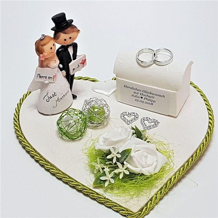 Geldgeschenk Hochzeit Herz grün weiß Just Married personalisiert Geld schenken…