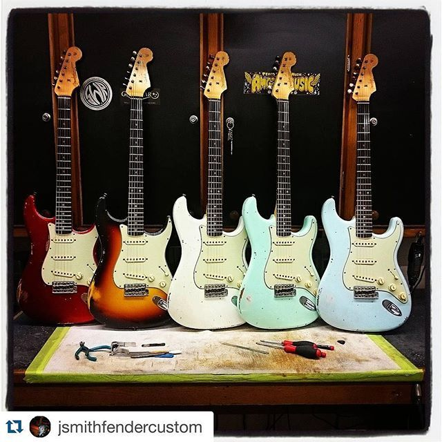 #Repost @jsmithfendercustom ・・・ 1961 relic Stratocasters headed to @coda_music_stevenage #fendercustomshop