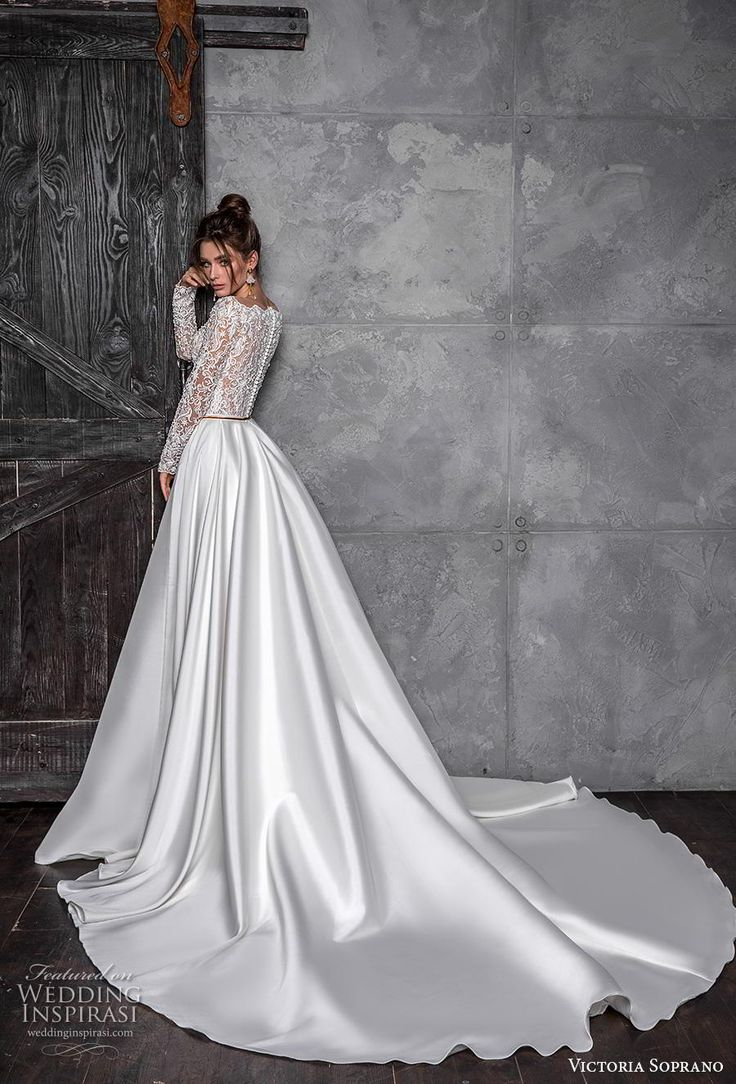 Victoria Sopran 2020 Braut Langarm Bateau Ausschnitt stark verschönert bo …   – Wedding Dresses 2020/21 2019/18