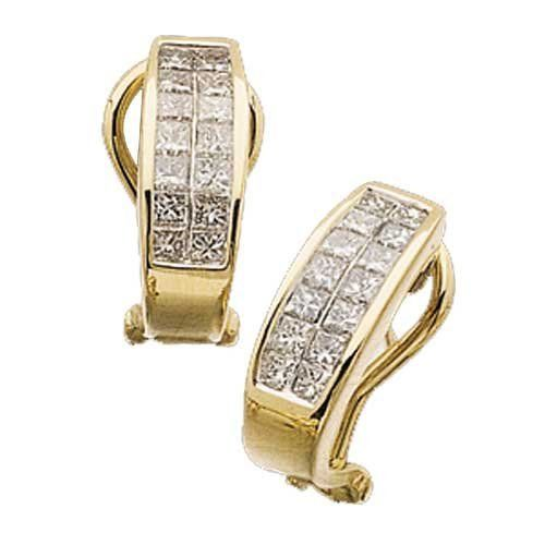 14K Yellow Gold Double Row Diamond Earrings Jewelry Days. $1669.00. Gorgeous pair of diamond earrings fashioned in gleaming 14Kt. Yellow Gold.. Featuring one carat sparkling princess cut diamonds dramatically set in Invisible settings.. Omega clips lock. Weighs approximately 4.84 grams.. Save 54%!