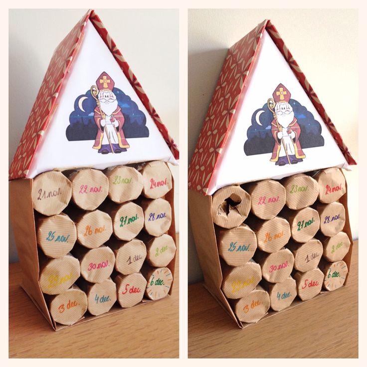 Laat de Sint nu maar snel komen!  Aftelkalender voor Sinterklaas met inpakpapier en wc-rolletjes