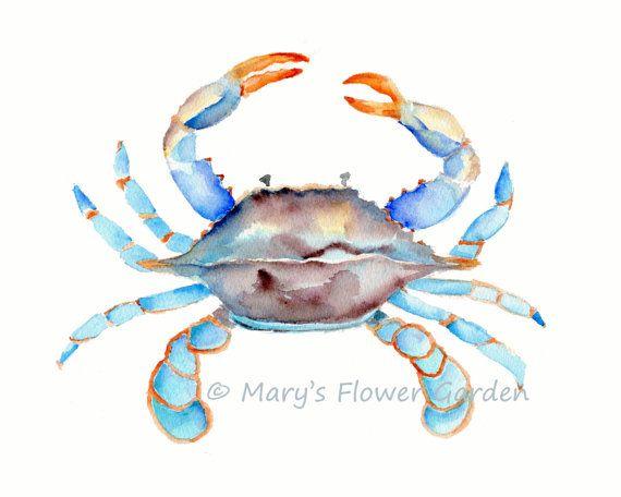 Blue Crab Watercolor-crab art Sea Life Art by Marysflowergarden