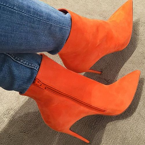 Pointed toe orange Suede high heel boots with side zipper closure. Made of suede leather. Heel height 10cm. Note: Shoes are custom made please allow up to 7 extra days to arrive.