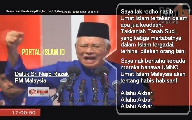 Ini Pekik Takbir dan Pidato Heroik Pemimpin Malaysia Datuk Sri Najib Razak Bela Palestina