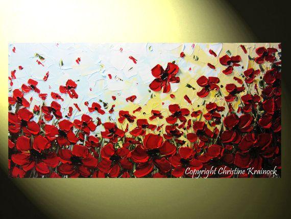 ORIGINAL Art Abstract Painting Red Poppy by ChristineKrainock, $315.00
