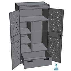 Police Tactical Gear Storage Lockers are big enough to store and organize all your tactical clothes, vests, boots, hats, helmets, radios, and weapons includes grommets for electrical power outlets recharging of phones, radios, and computers.