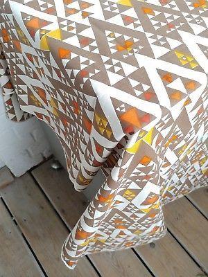 Mid Century Heavy Cotton Fabric Geometric Pattern Triangles Yellow Brown Orange